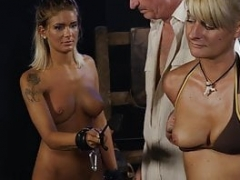 Sexy blonde gets her tits whipped