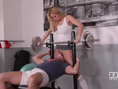 Missing Panties - A Horny Blonde's Juicy Gym Blowjob
