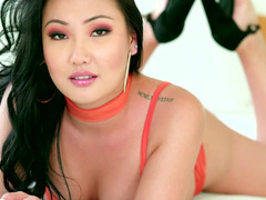 Two views of a facial cumshot for the gorgeous Asian
