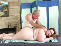 Large boobed Adult bbw Miss Ladycakes gets a sex massage