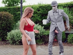 Alessandra Jane checks sexual potential of living statue outdoors