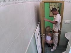 Blonde masturbates in doctors bathroom
