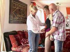 Old mom and dad tempt and penetrate their son's girlfriend