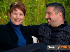 Redhead takes her husband to swinger party
