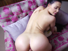 A busty bitch that enjoys the feel of a cock is doing a blow job