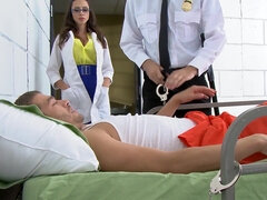 Dr. Ariella Ferrera hard fucked and cummed in a jailhouse