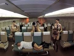 Beautiful Asian stewardesses are ready to please a man