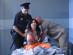 Inmate Lily Lane gets massaged then hard fucked & fed with cum in the jailhouse