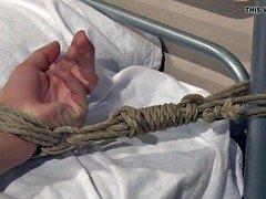Gaping euro punished by dominant nurse