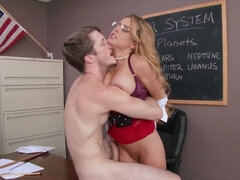 Teacher gets naughty and gives a student a free nookie and cums