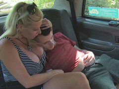 Lucky student called Sam fucked by sexy blonde cab driver