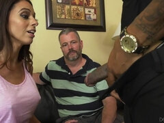 Hot wife makes her cuckold husband jealous by having sex with a black man
