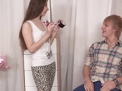 Tiny babe cuckolds her restrained bf