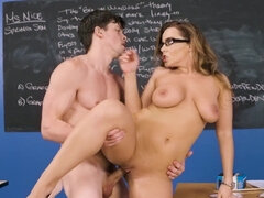 Professor Natasha Nice is nailed and titfucked by her student in the class