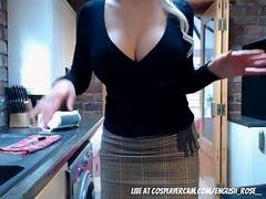 Controlling my step mothers vibrator in the kitchen