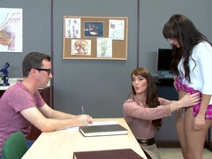 Teacher Bianca Breeze gives her student a fuck lesson in a classroom 3some