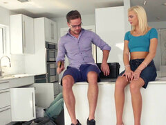 Tiffany Watson get drilled on the kitchen stool & floor behind her uncle's back