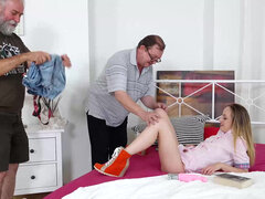 Natalia Pearl sandwich fucked in a threesome with two old mans