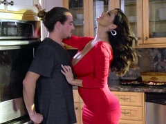 Hot mom sucks dick in the kitchen