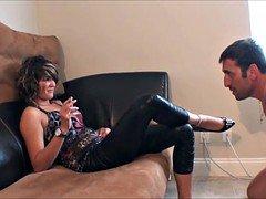 Ballbusting smoking model kicks male femdom slave
