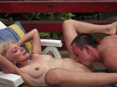 Granny knows how to suck on that big penis and additionally then gets nailed by her lover
