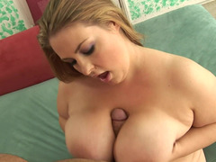 Chunky non-professional blonde with big soaked titties gets rammed hard