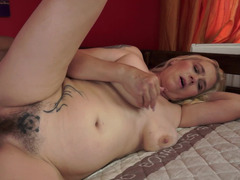 A granny with a hirsute pussy is fucked in the shower today