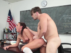 Handsome teacher with a gigantic cock fucks a slutty student lady