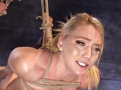 Blonde bdsm hogtied for rectal and plus snatch toying