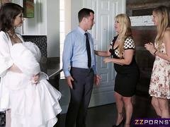 Young bride bangs the delivery boy before her wedding