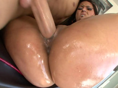Reena Sky oiled up and also fucked by a large knob man