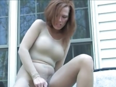 Tan Pantyhose Masturbation 12