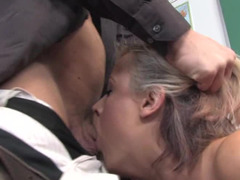 A blonde is getting fucked in the classroom by her teacher
