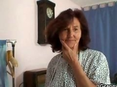 Sewing granny takes her customer's penis