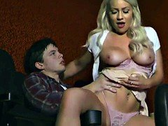 Big-breasted blonde exgf gets down and dirty bf in cinema