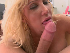 Depilated cunt of curly-haired blonde receives cock at the casting