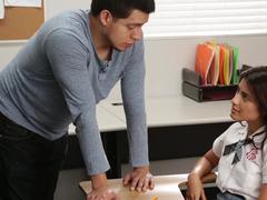 Nice-looking Latina schoolgirl gets nailed so well by her tutor