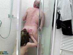 Huge titted brunette 18-19 y.o. fucked hard by a grandpa