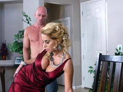 A blonde with melons is getting her clit licking by her man