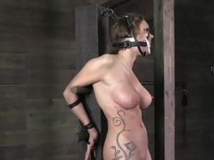 Busty tattooed sub whipped by maledom