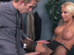 Tattooed blonde darling with a killer body gets rammed & facialized