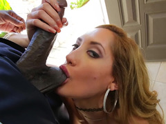 Ebony monster knows that coquette will get wild meeting his dick
