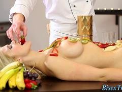 Food smeared bisex chick