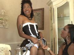Ebony lez group intercourse with uniform girls fucking