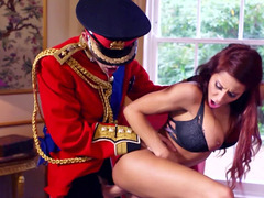 A couple of sexy sluts are getting fucked in the royal palace by a excited guard