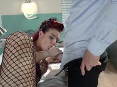 Redhead slut is getting fucked in the examination room