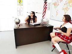 Teachers Sara Jay & Angelina Castro Bang Pupil Gia in Class!