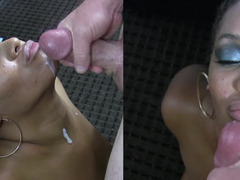 Chubby black queen is ready to taste a big white meat pole