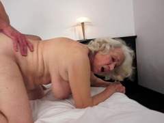 Gray grown-up female is getting her love hole licked and she is moaning loudly