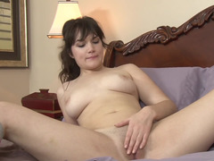 Single sweater girl spreads her legs & plays with her hot pink slit